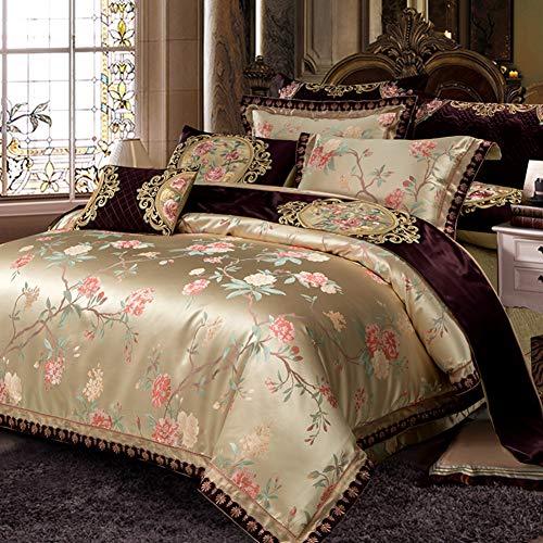(JRG American European 10piece Bedding Comforter Sets Satin Jacquard Wedding Long Velvet Bed Skirts, High-Grade Bedding Lace Trimmed Elastic Bed Wrap-a)