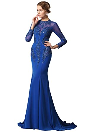 New Arrival Blue Long Sleeves Lace Applique Evening Dress Formal Gown (02150205)