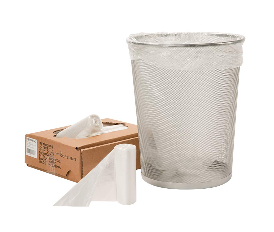 APQ Pack of 25 Glutton Clear Trash Bags 43 x 47 Thickness 0.6 mil. 45 Gallon Low Density Polyethylene Bags. Plastic Garbage Can Liners 43x47. Tear Resistant Trash Liners for Offices, Schools, Kitchen