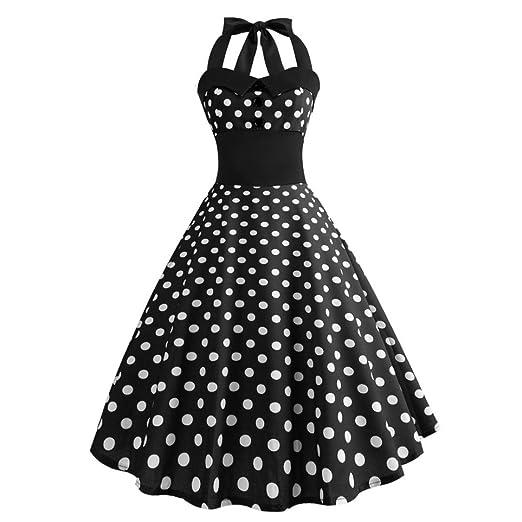 Qvwanle Hot Sale! Women Sleeveless Midi Dress Vintage 50s Rockabilly Polka  Audrey Dots Halter Button f247b039892
