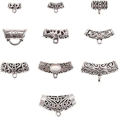 Tibetan Style Hanger Links for DIY Jewelry Bracelet Necklace Making Antique Silver Color 100pcsbox Mixed Shapes 10 Designs