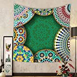 Gzhihine Custom tapestry Moroccan Tapestry Decor Oriental Motif with Mix of Hippie Retro Circle Morocco Mosaic Lines Sacred Holy Design for Bedroom Living Room Dorm Multi
