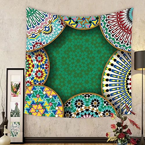 Gzhihine Custom tapestry Moroccan Tapestry Decor Oriental Motif with Mix of Hippie Retro Circle Morocco Mosaic Lines Sacred Holy Design for Bedroom Living Room Dorm Multi by Gzhihine