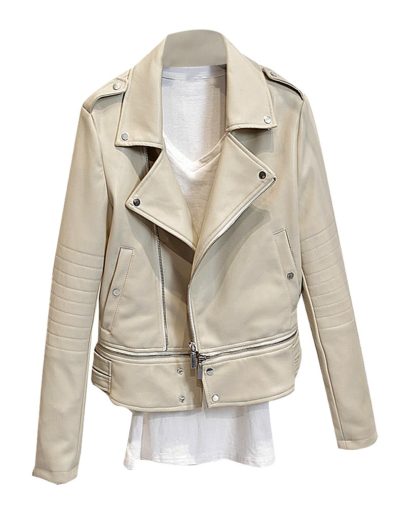 BLady Women's Zip Up Turndown Collar PU Leather Removable Bottom Moto Jacket, White M,Manufacturer(XL) by BLady