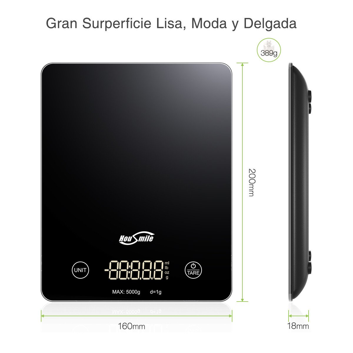 Housmile Báscula Digital de Cocina, 5 kg, con Gran Pantalla Táctil de LED Color-Negro