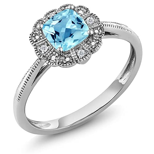 Gem Stone King 10K White Gold Women s Ring Cushion Swiss Blue Topaz with Diamond Accent Available 5,6,7,8,9