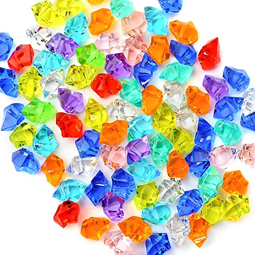 Premium Multicolored Fake Crushed Ice Rocks, 150 PCS Fake Diamonds Plastic Ice Cubes Acrylic Clear Ice Rock Diamond Crystals Fake Ice Cubes Gems for Decoration Wedding Display Vase Fillers by ()