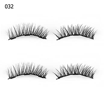 0a2930a8d95 Amazon.com : Smoothph SKONHED 4 Pcs Long Triple Magnets Glue-free Magnetic  Lashes False Eyelashes Full Coverage Extension Tools : Beauty