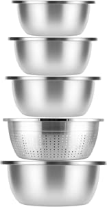 COOKER KING 304/18-8 Stainless Steel Mixing Bowls Sets - Easy To Clean, Nesting Bowls for Space Saving Storage, Great for Cooking, Washing, Baking, Prepping, 2, 3.5, 5, 6, 6QT (Include a Funnel)