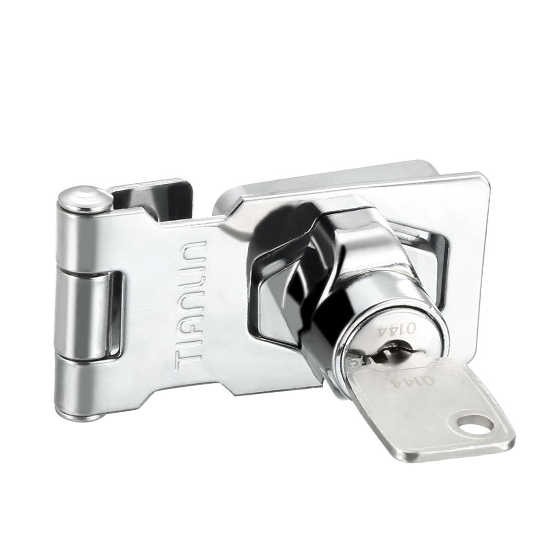 uxcell Keyed Hasp Lock Latch Lock for Doors Cabinets Silver, Zinc Alloy Plated, 3.07''x1.42'', 1pcs