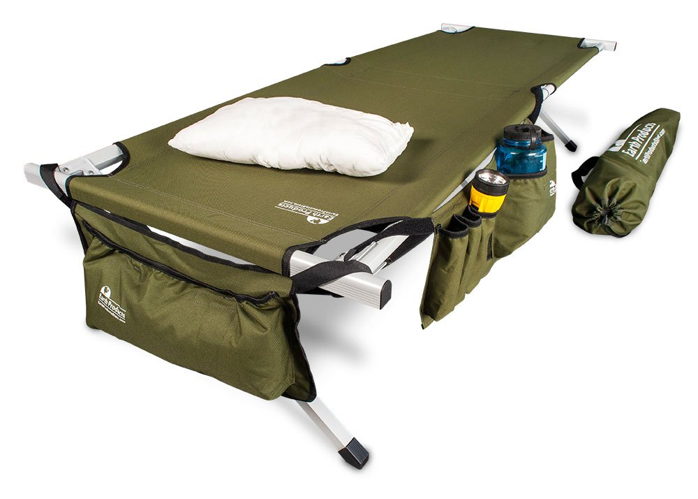 EARTH Ultimate Extra-Strong Military Style Camping Cot, 5-YEAR WARRANTY, w Free Side Storage Bag System and Pillow