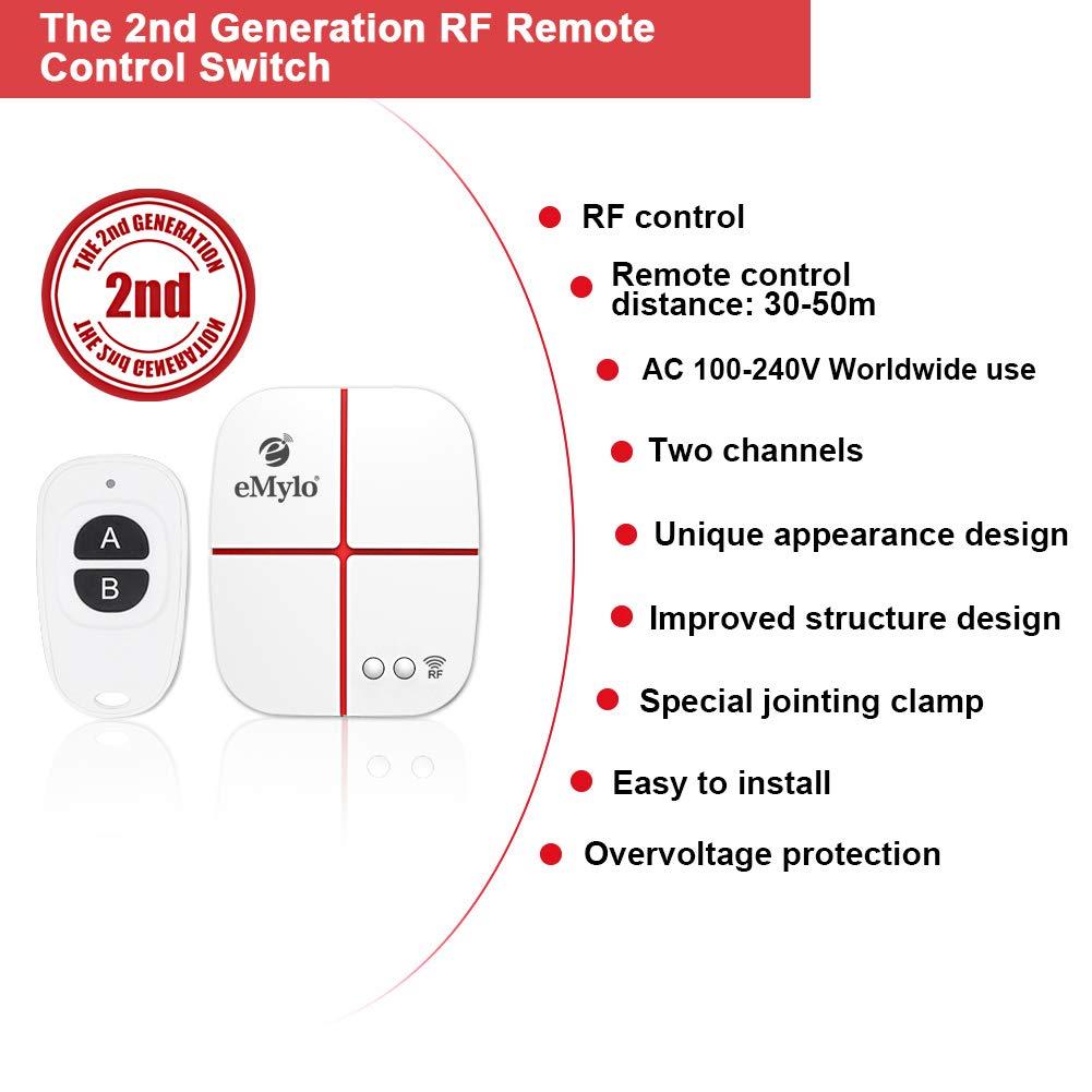 eMylo RF Wireless Relais Fernbedienung Smart Switch Licht Momentary Switch Elektroger/ät Fern/öffner AC 5-24V 433Mhz 2-Kanal mit zwei Sendern Home Automation