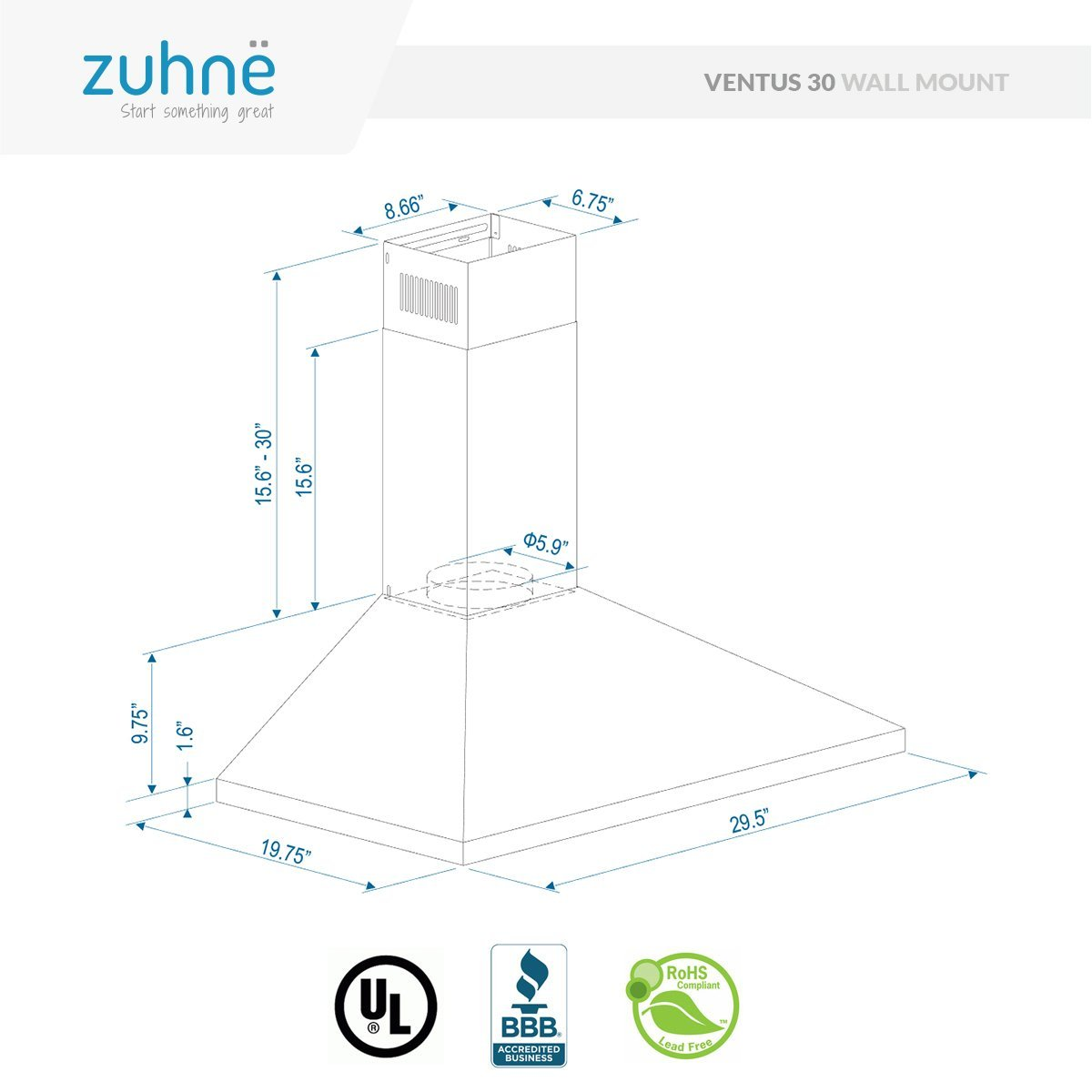 amazon zuhne ventus 30 inch kitchen wall mount ducted ductless Design Your Own Kitchen Island amazon zuhne ventus 30 inch kitchen wall mount ducted ductless stainless steel range hood or stove vent with energy saving touch control led lights