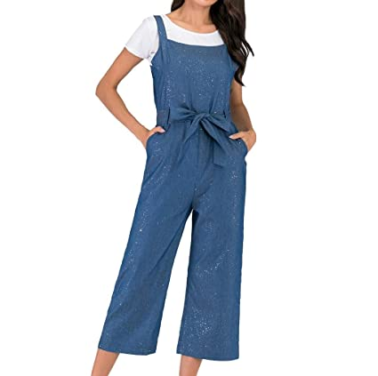 79a6a12d8d9e Amazon.com: Women Casual Loose Sleeveless Denim Overall Jumpsuit Rompers  Wide Leg Cropped Jeans Bib Pants Belted Summer Lounge Palazzo Pants Plus  Size: Arts ...