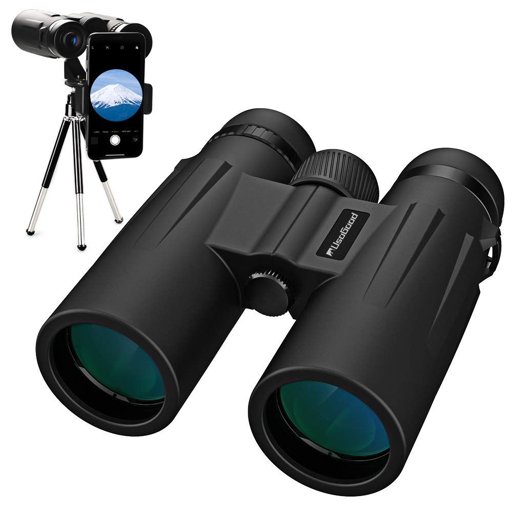 Usogood 12X50 Binoculars for Adults with Tripod, Waterproof Compact Binoculars for Bird Watching, Hiking, Traveling, Hunting and Sports Events, Smart Phone Adaptor for Photography