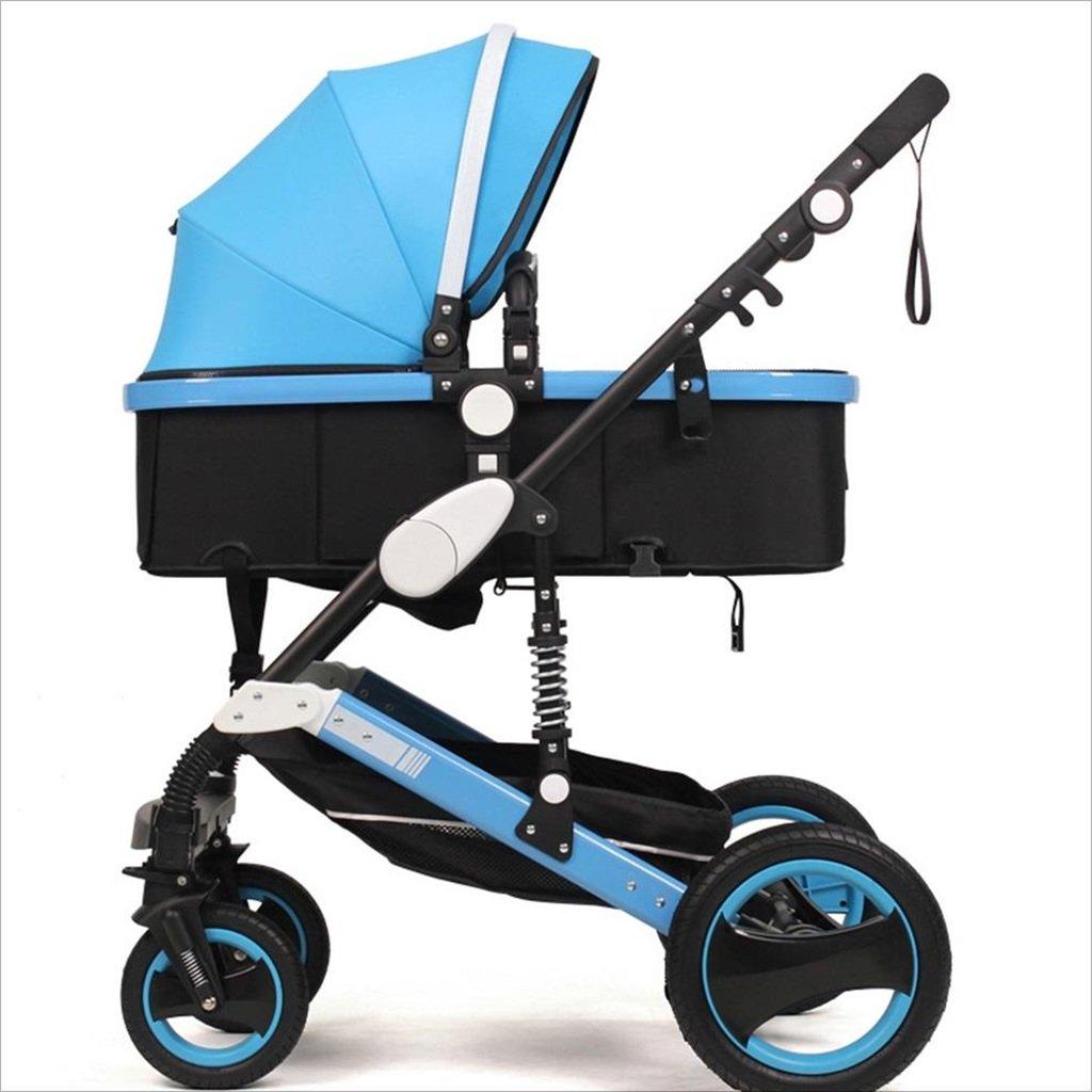 新生児の赤ちゃんキャリッジ折りたたみ可能な座って、1ヶ月のためのダンピングの赤ちゃんカートに落ちることができます 3歳の赤ちゃんの双方向四輪ベビートロリーを振るのを避ける (色 : 青) B07DV8XQTX 青 青
