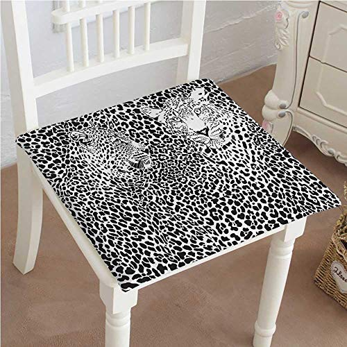 - Mikihome Classic Decorative Chair pad Seat Print Skin Background Blended Over Two Leopard Heads Black White Cushion with Memory Filling 24