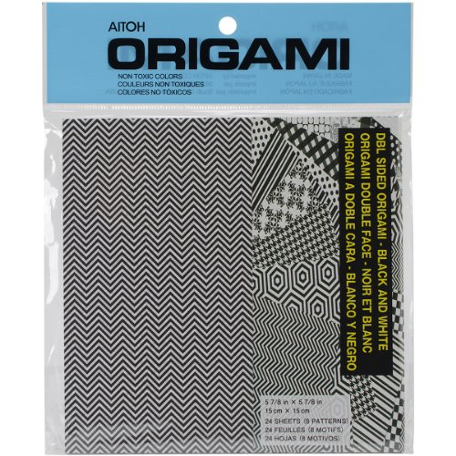 Aitoh Double Sided Origami Paper, 5.875 by 5.875-Inch, Black and White, 24 sheets ()