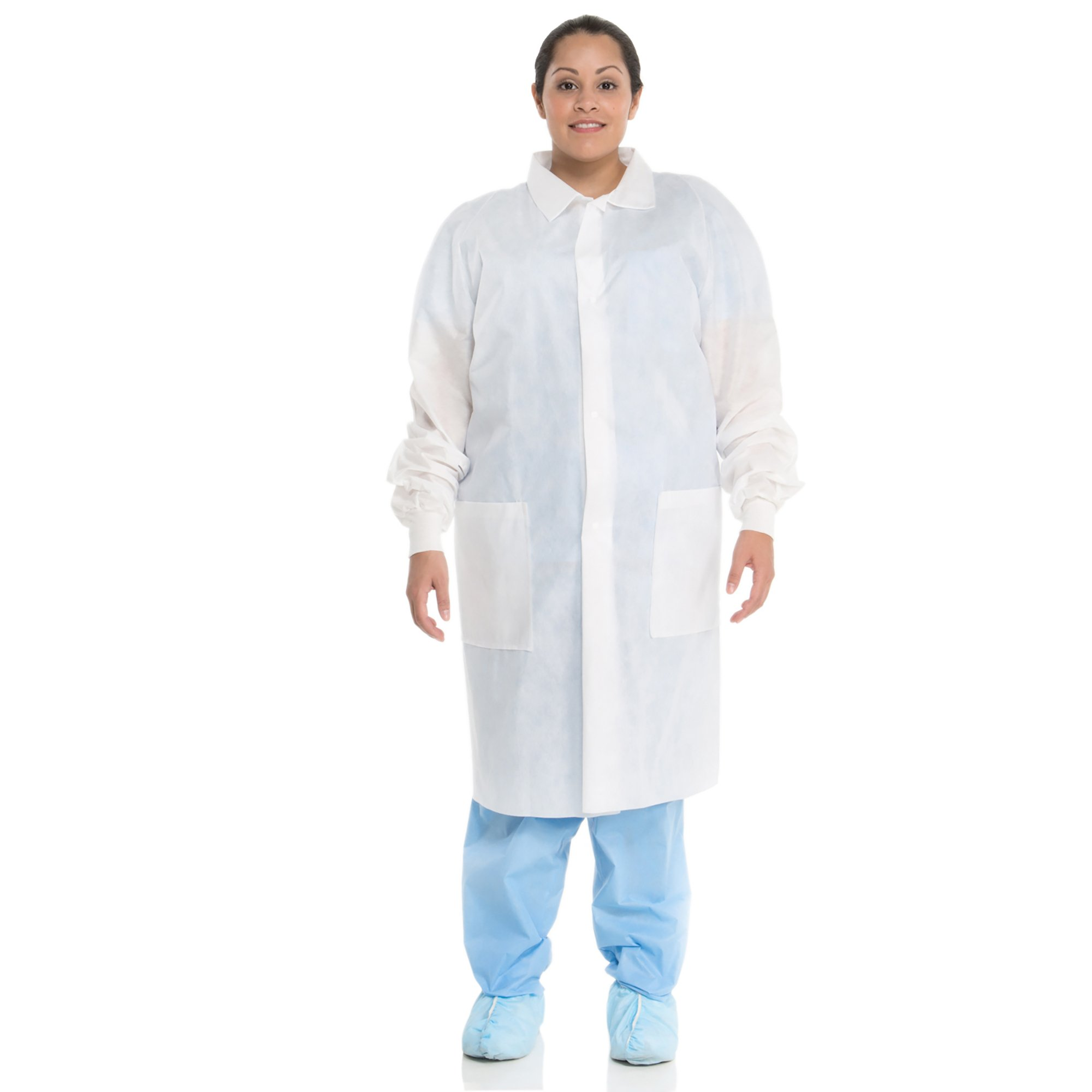 Kimberly Clark Basic Lab Coats (10121), Protective 3-Layer SMS Fabric, Knit Cuffs, Mid-Calf Length, Unisex, White, Medium, 25 / Case