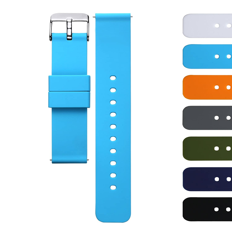 AZLAND クイックリリースシリコン製交換用腕時計バンドストラップ 男性用 女性用 18mm 20mm 22mm 20mm|アクアブルー アクアブルー 20mm B06XCH5NZL