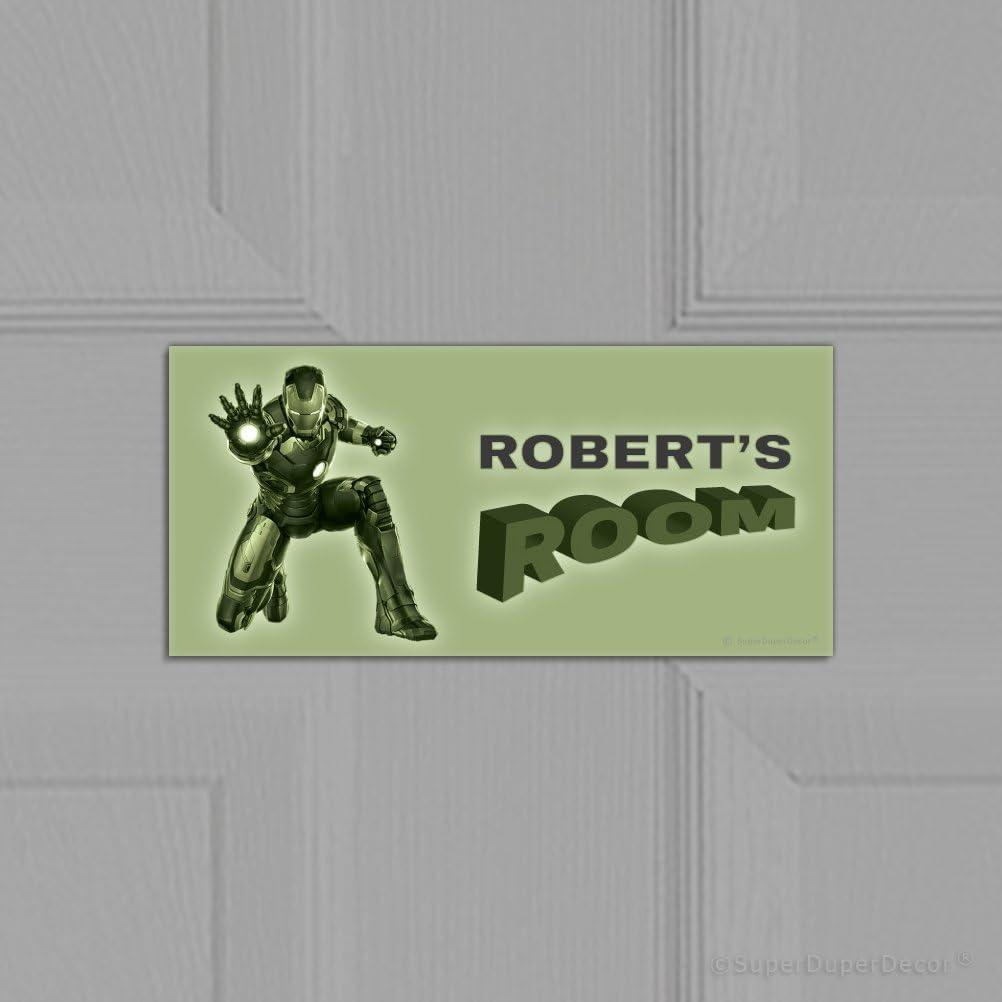 personalised bedroom door plaque GLOW-IN-THE-DARK SuperDuperDecor IRON MAN