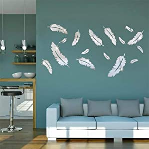 HOODDEAL Acrylic Mirror Wall Decor Removable DIY Feather Modern Art Wall Stickers for Home Office Decoration Bathroom Living Room Bedroom Murals Decals(16 PCS, Silver)