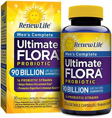 Renew Life Men's Probiotic - Ultimate Flora  Probiotic Men's Complete, Shelf Stable Probiotic Supplement - 90 billion - 30 Vegetable Capsules (Packaging May Vary)