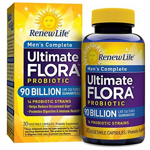 - Renew Life Men's Probiotic - Ultimate Flora  Probiotic Men's Complete, Shelf Stable Probiotic Supplement - 90 billion - 30 Vegetable Capsules (Packaging May Vary)