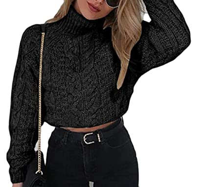 d094c24d212 Generic Women s Sexy Turtle Neck Knitted Cropped Sweater Jumper Black XXS