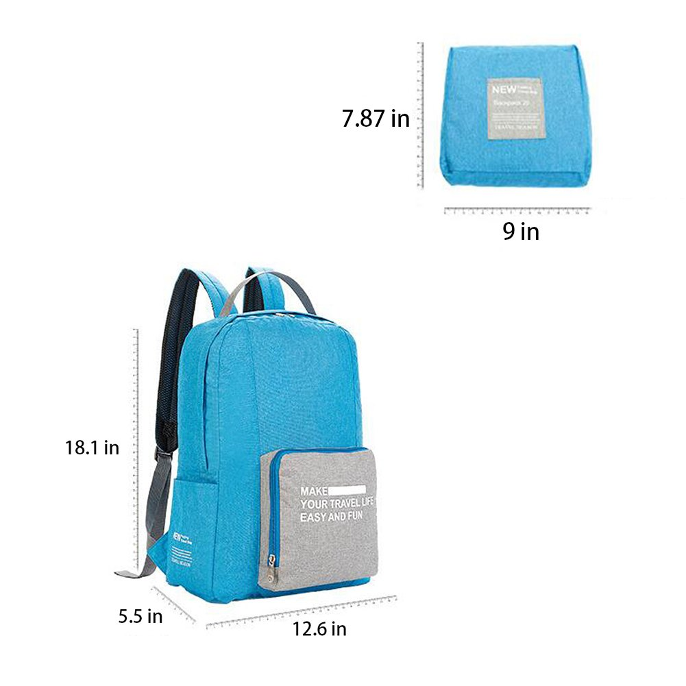 Vinmax Folding Travel Backpack Portable Canvas Bag - Best for Travelling, Hiking, Camping, Sports and Outdoors - laptop backpack-Durable Daypac (Light Blue)