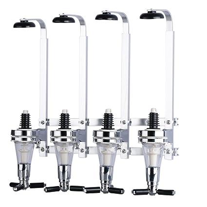 Dispensador de Bebidas Licor Vino 4 Cabezas Dosificador (Acero Inoxidable Cabeza, Aleación Aluminio,