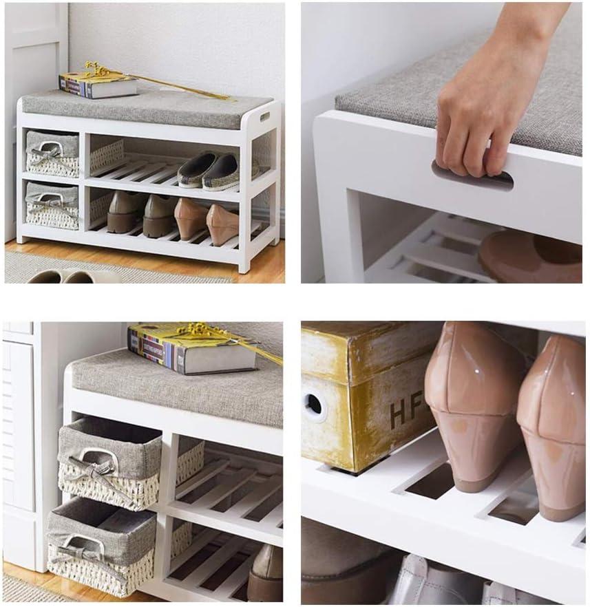 Djyyh 靴ラック多層、シンプルでモダンなソリッドウッドの靴のベンチ、収納スツール、靴のベンチ、ブラウン/グレー (Color : Grayish white)