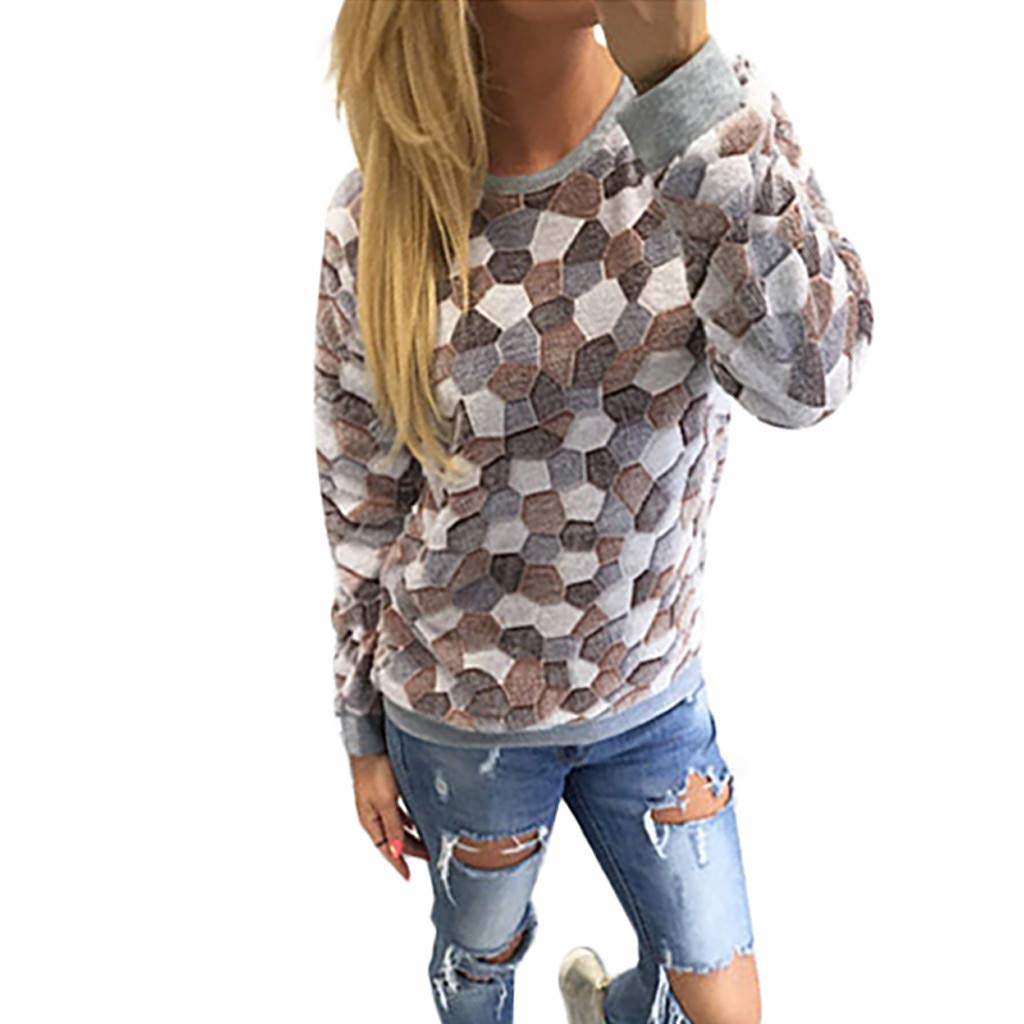 〓COOlCCI〓Women's Pullover Sweaters Long Sleeve Crewneck Cute Lattice Sweaters Pullover Tops Pullover Sweatshirt Blouse Brown by COOlCCI_Womens Clothing