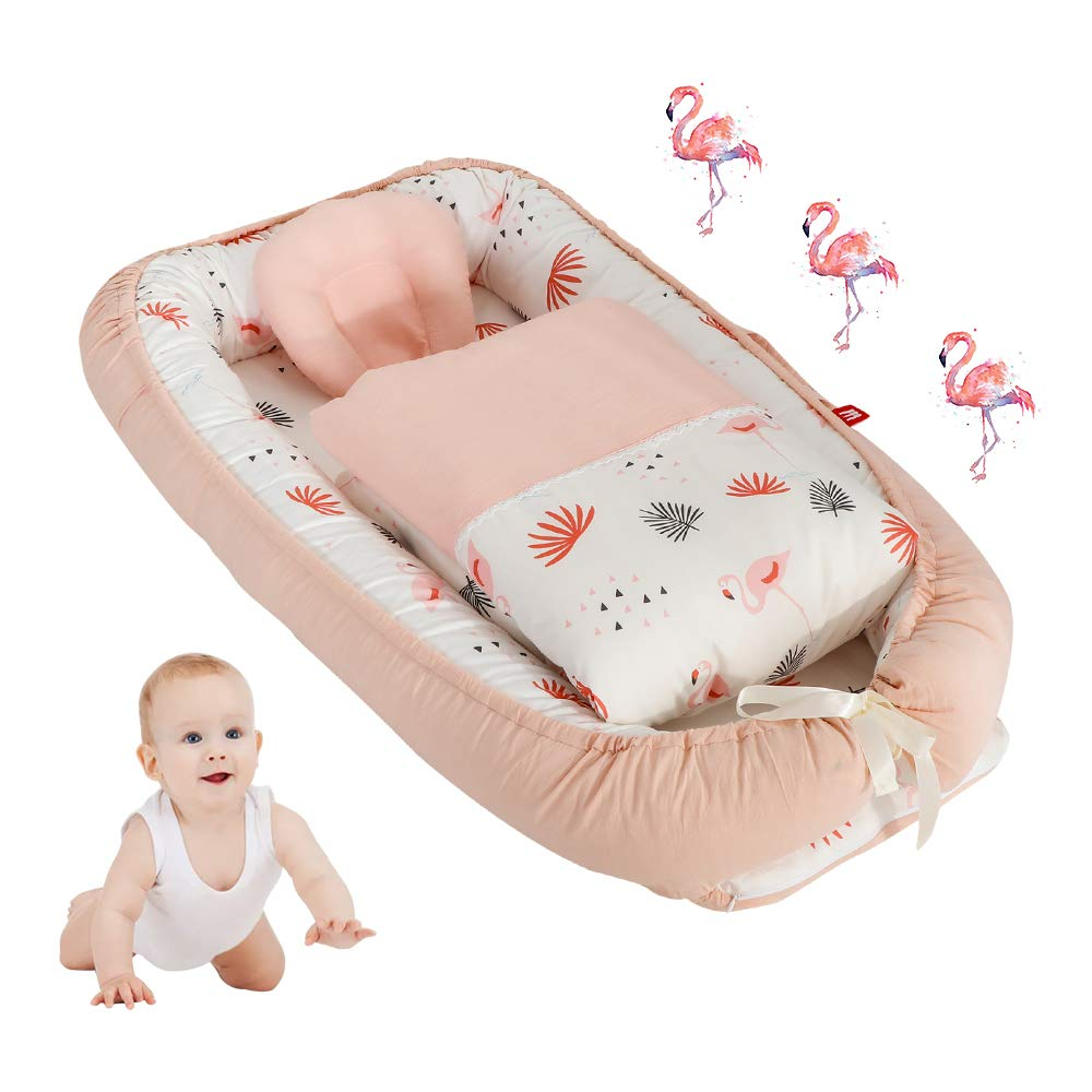 Toys Studio Baby Lounger for Newborn, Cotton Baby Nest, Soft Baby Bassinet for Bed - Portable Breathable Co-Sleeping Cribs for Bedroom Travel (Light Pink Flamingo) by Toys Studio