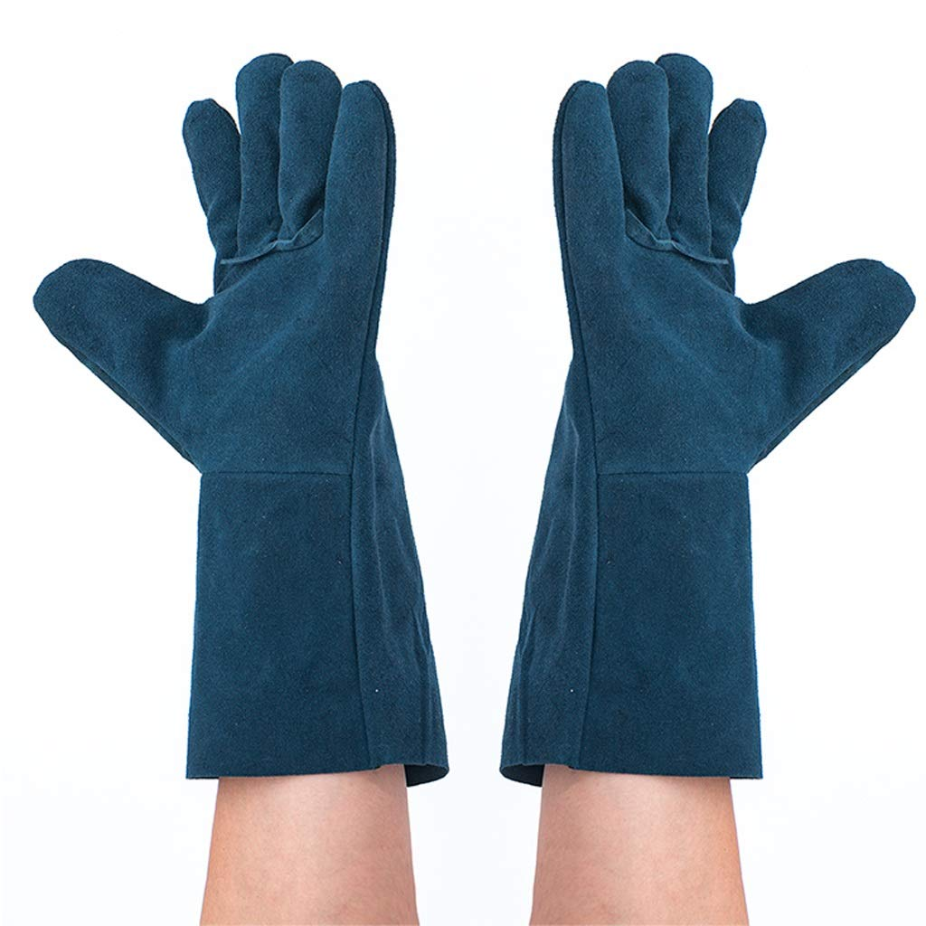 Zyj Welding Gloves 10 Pairs of 33cm Long Leather Soft Labor Insurance Work Gloves Wear Heat Insulation Anti-scalding by Zyj (Image #6)