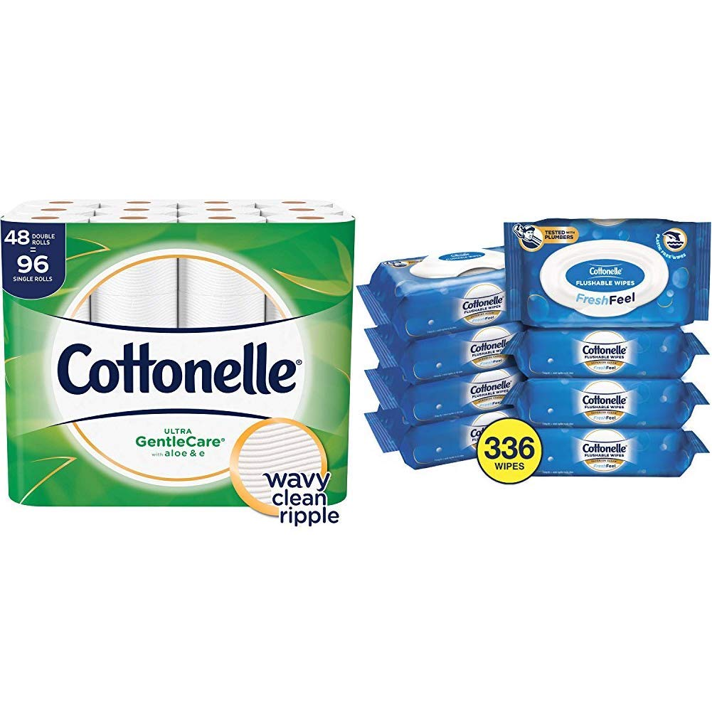 Cottonelle Toilet Paper Bundle - Cottonelle Ultra GentleCare Toilet Paper, 48 Double Rolls and Cottonelle FreshCare Flushable Wipes, 8 Packs, 42 Wipes Per Pack (336 Wipes Total) by Cottonelle