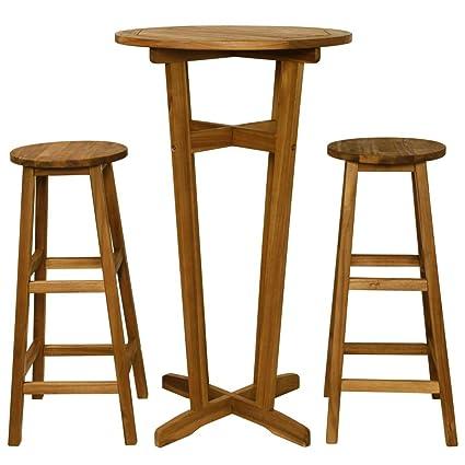 Sedie Tavolini Bar.Tidyard Set Tavolino Bar Set Mobili Bistro Per Interno Che Esterno Tavolo Con 2 Sedie Legno Massello Di Acacia