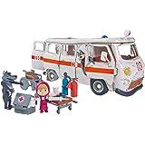 Simba 109309863 Masha y Michka Playset Ambulance - Juego de 2 Figuras de Lobos y 1 Figura articulada Masha