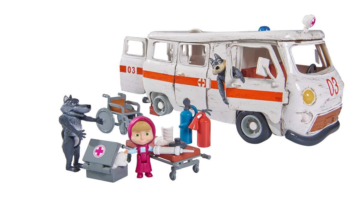 Simba - Masha et Michka - Ensemble de Poupée - L'Ambulance + Figurines et Accessoires - emballage écologique Simba Toys 109309863