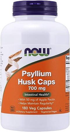 NOW Supplements, Psyllium Husk Caps 700 mg with 50 mg of Apple Pectin, Intestinal Health*, 180 Veg Capsules