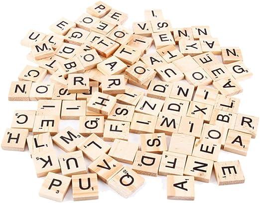 Pequeño de madera Scrabble Cartas Tiles juego de mesa for manualidades, en mayúsculas, 100 Paquete lsmaa (Color : Uppercase): Amazon.es: Hogar
