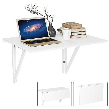 Berühmt Homfa Wandtisch klappbar 80x60cm weiß mit 2 Halterungen Klapptisch JV39