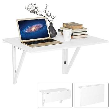 Homfa Wandtisch klappbar 80x60cm weiß mit 2 Halterungen Klapptisch Wand  Küche Wandklapptisch Holz Esstisch Küchentisch Schreibtisch Computertisch  ...