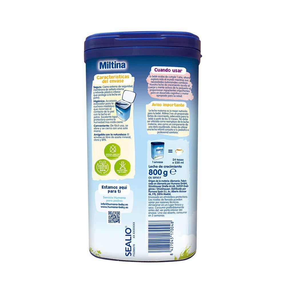 MILTINA 3 PROBALANCE, leche de crecimiento a partir de los 12 meses, 800g.: Amazon.es: Alimentación y bebidas