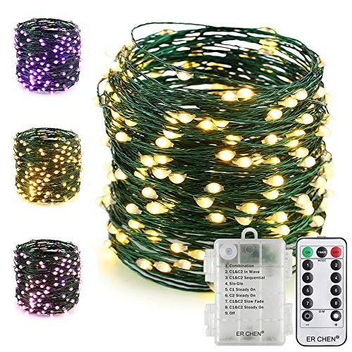 ER CHEN Fairy Lights with Remote, Battery Operated Green Copper Wire 66Ft 200 LED String Lights Color Changing 8 Modes Christmas Lights with Timer for Bedroom, Patio, Garden, Yard (Warm White&Purple) by ErChen