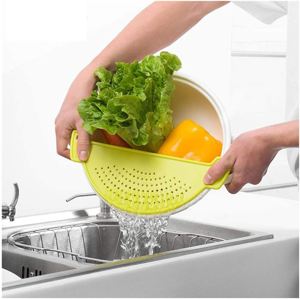 KeepingcooX Premium Plastic Pot Strainer/Pan Drainer With Handle - Food Filter Board Sieve Draining Spaghetti, Pasta, Grease, Vegetable, Fruit, Fits Upto 9.5 inch Pot - 3 Pcs Silicone Bottle Caps Gift