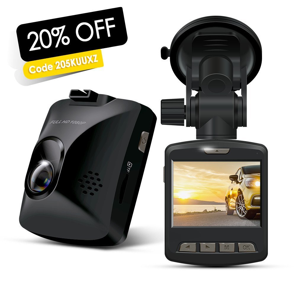 Dash Cam - ARTSEA 170° Wide Angle View 1920x1080P 2.0'' Screen Mini Car Camera with Parking Monitor Loop Record Impact Sensor