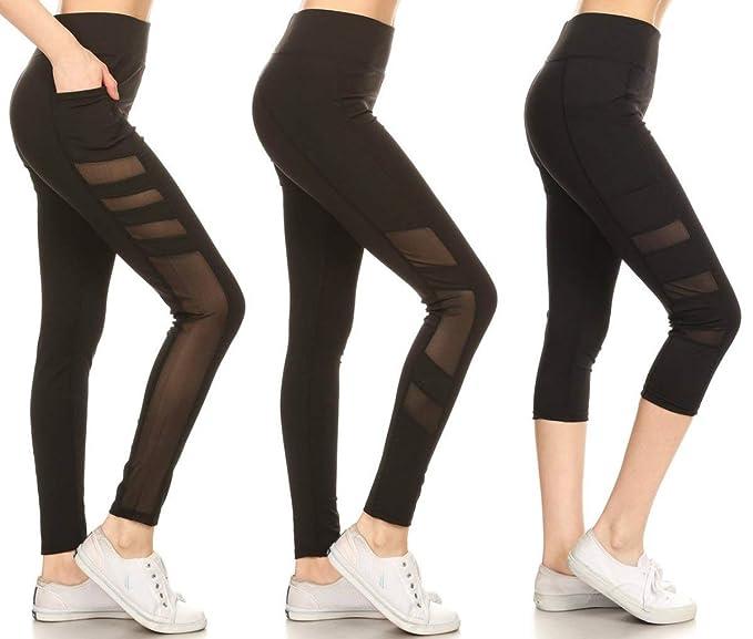 Jvini Women's Active Mesh Panel Insert Workout Yoga Leggings & Capris with Pockets