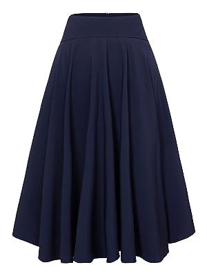 Choies Women Royal Blue High Waist Midi Skater Skirt S