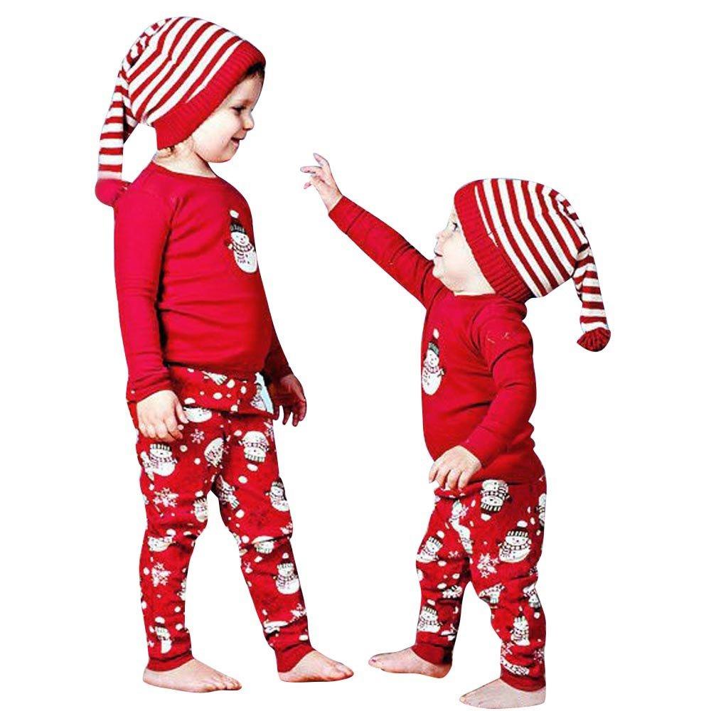 Christmas Outfits Newborn Infant Kid Baby Girl Boy Bodysuit Clothes Print Long Sleeve T-Shirt Tops+Pants Set Family Pajamas Sleepwear